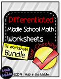Middle School Math Bundle of Self-Checking Worksheets - Differentiated