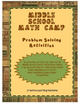 Middle School Math Camp - Summer Problem Solving Activities