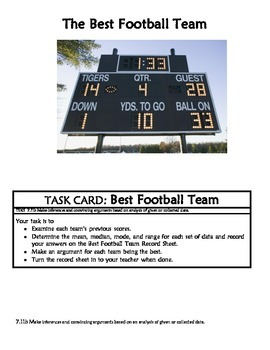 Middle School Math Center: Football and collected data