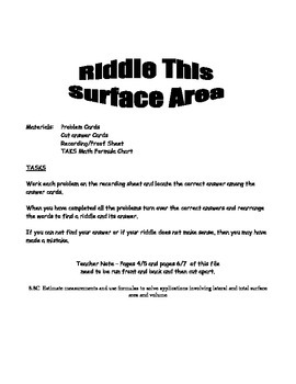 Middle School Math Center: Measurement and Surface Area and Volume