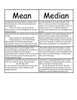 Middle School Math Center: Measures of Central Tendency