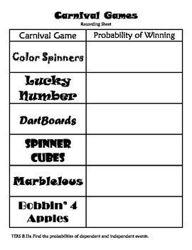 Middle School Math Center: Probabilities of dependent and independent event