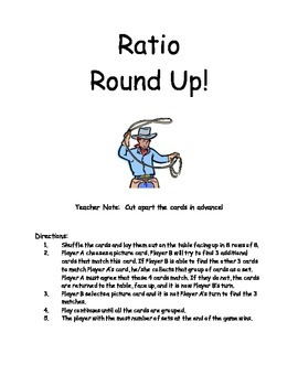Middle School Math Center: Ratio Round Up