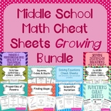 Middle School Math Cheat Sheets/Reference Sheets Bundle