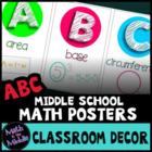 Math Posters - ABCs of Middle School Math Classroom Decor Alphabet