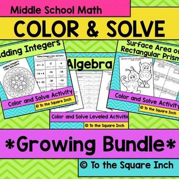 Middle School Math Color and Solve Bundle