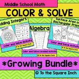Middle School Math Color and Solve Bundle