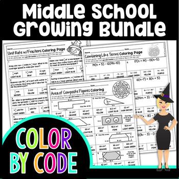Middle School Math Coloring Growing Bundle