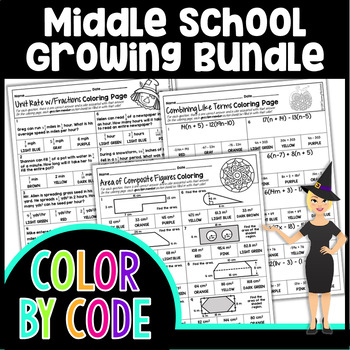 MIDDLE SCHOOL COMMON CORE COLORING PAGES, QUIZZES - GROWING BUNDLE!