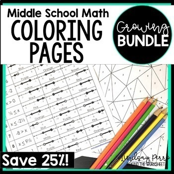 Middle School Math Coloring Pages {Version TWO - A Growing Bundle}