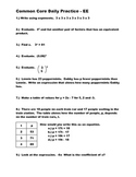 Middle School Math Common Core Daily Practice - Equations and Expressions