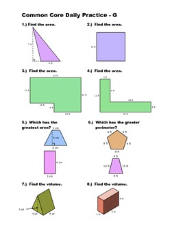 Middle School Math Common Core Daily Practice - Geometry