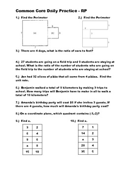 Middle School Math Common Core Daily Practice - Ratio and