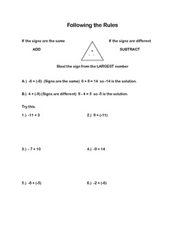Middle School Math Common Core Unit : Integers