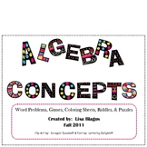 Middle School Math Concept Activities:  Coloring, Riddles, and Fun!