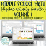 Middle School Math DIGITAL Activity Bundle for Google Drive & OneDrive Volume 1