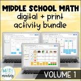 Middle School Math DIGITAL Activity Bundle for Google Drive & OneDrive Volume 1