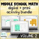 Middle School Math DIGITAL Activity Bundle for Google Drive & OneDrive Volume 2