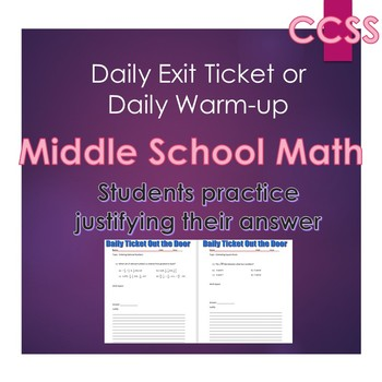 Middle School Daily Math Exit Slip/Warm-Up: Ordering Rational Numbers