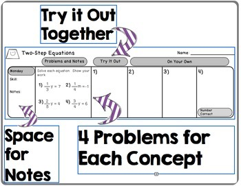 Daily Warm Ups for Middle School Math - BUNDLE