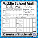 Daily Warm Ups for Middle School Math - Expressions, Equations and Inequalities