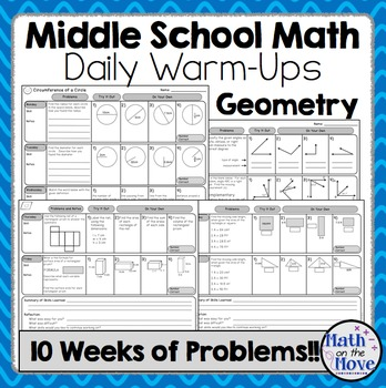 Daily Warm Ups for Middle School Math - Geometry
