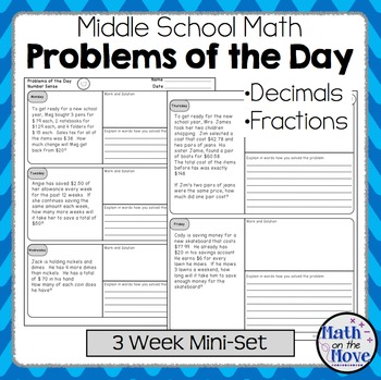 Daily Word Problems for Middle School Math - Decimal and F