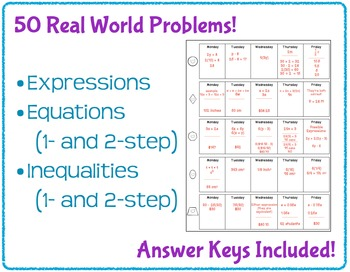 Daily Word Problems for Middle School Math - Expressions, Equations, Inequalites