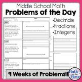 Daily Word Problems for Middle School Math - Number Sense