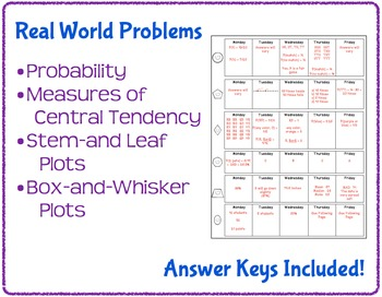 Daily Word Problems for Middle School Math - Probability and Statistics