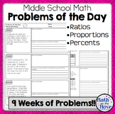 Daily Word Problems for Middle School Math - Ratios and Proportional Reasoning