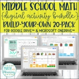 Middle School Math Digital Activity Create-Your-Own Custom Bundle 20-Pack