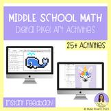 Middle School Math Digital Pixel Art Bundle - GROWING