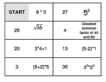 Middle School Math Dominoes - High level