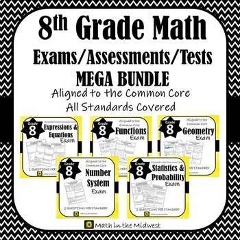 Middle School Math Exams/Assessments/Tests MEGA BUNDLE {6 - 8th Grade} EDITABLE