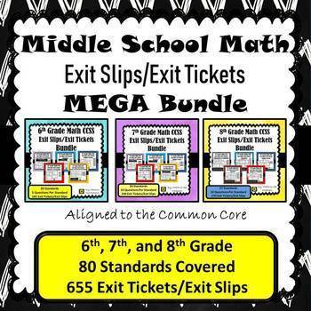 Middle School Math Exit Slips/Exit Tickets MEGA BUNDLE {6 - 8th Grade}