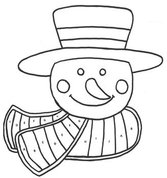 Middle School Math Exponents/Roots Snowman Coloring Page