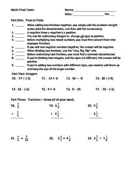 Middle School Final Exam:The Basics (integers, fractions, decimals, equations)