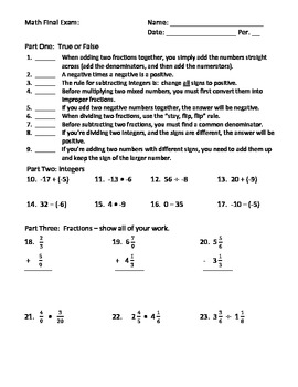 Middle School Final Exam:The Basics (integers, fractions, decimals, equations)