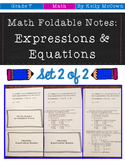 Middle School Math Foldable Notes: Expressions & Equations {Grade 7: Set 2}
