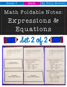 Middle School Math Foldable Notes: Expressions & Equations