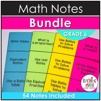 Middle School Math Foldable Notes: Grade 6 BUNDLE