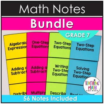 Middle School Math Foldable Notes: Grade 7 BUNDLE