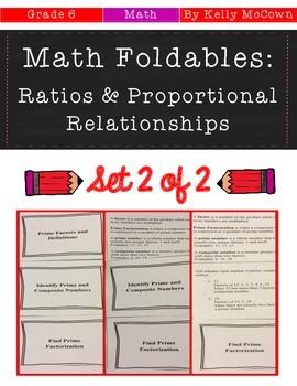 Middle School Math Foldables: Ratios & Proportional Relations {Grade 6: Set 2}