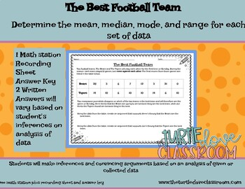 Middle School Math Football Scores: What's the  Mean, Median, Mode, Range?