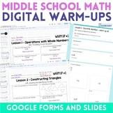 Middle School Math GOOGLE Warm Ups Bundle
