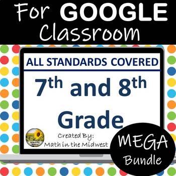 Middle School Math Google Classroom Bundle - 7th and 8th Grade Math Digital