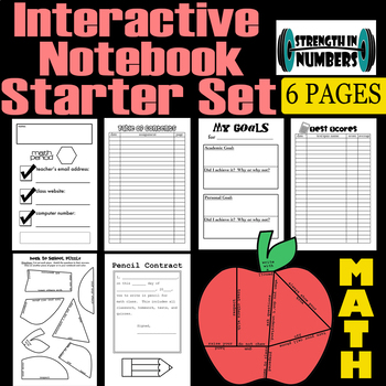 Middle School Math Interactive Notebook Starter Set 6 pages