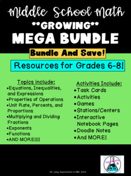 Middle School Math Mega Growing Bundle!!!