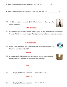 Middle School Math Mixed Review